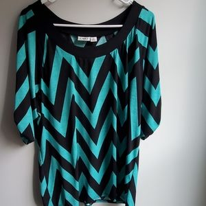 Cato XL Chevron Print Half Sleeve Blouse